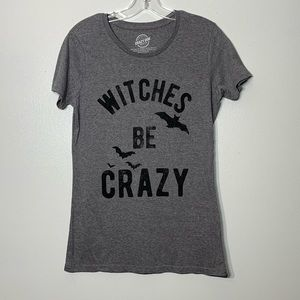 Witches Be Crazy & bats soft Gray Graphic Tee - L
